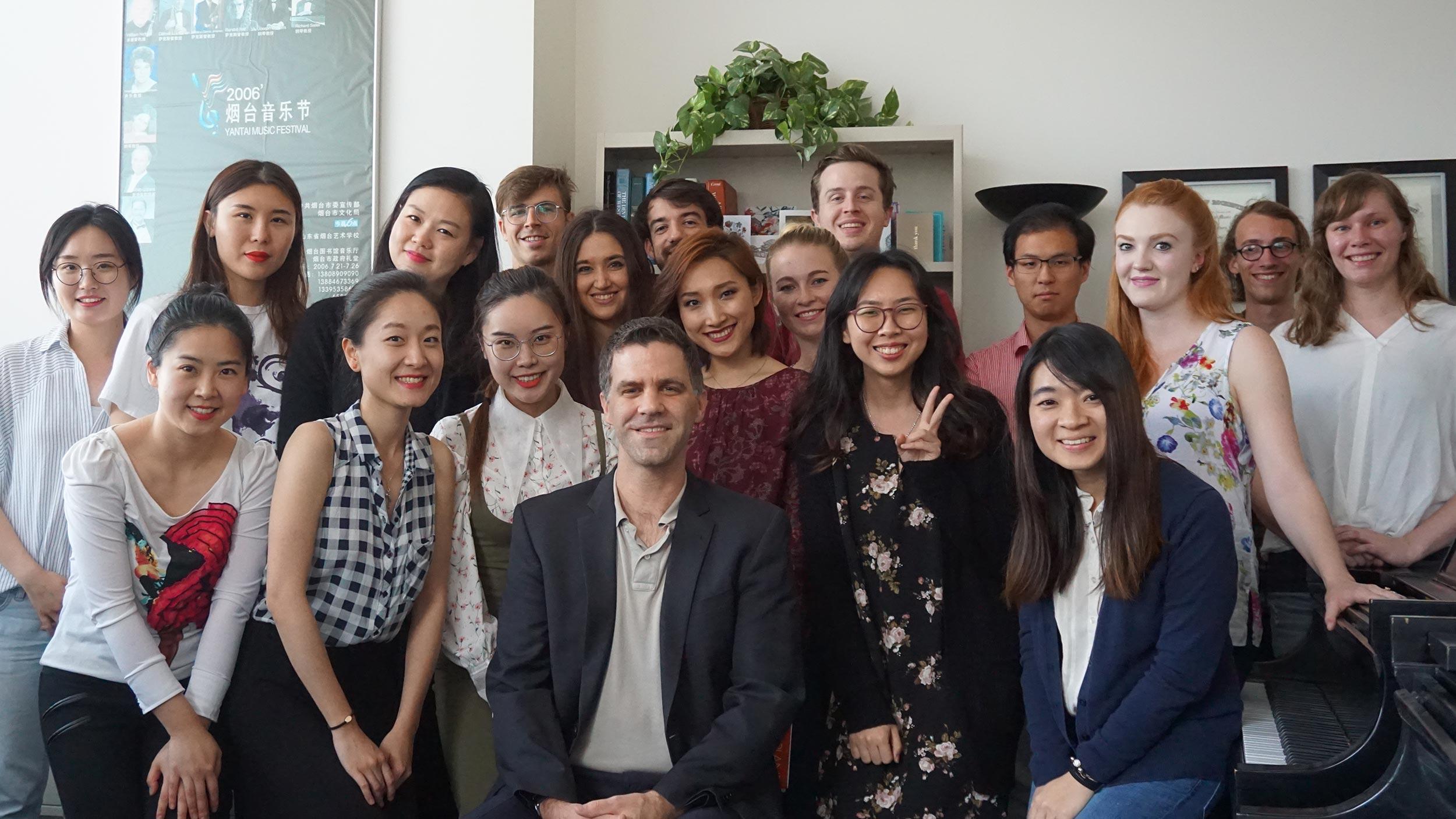 Joseph Rackers with students